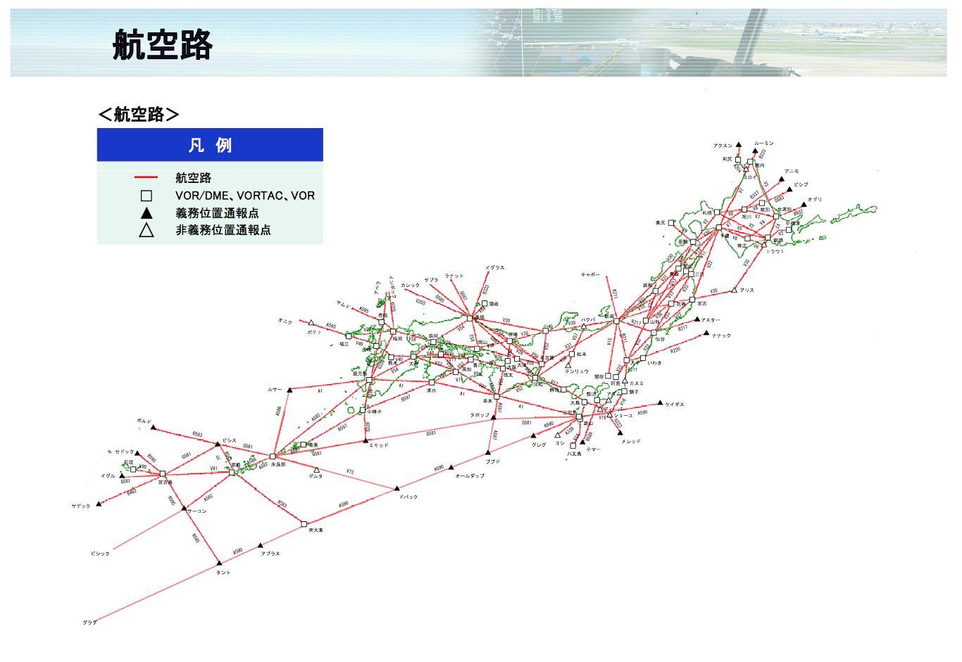 日本上空の航空路網