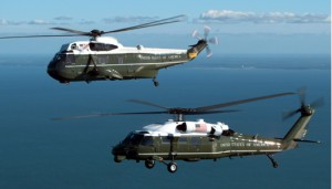 VH-3D/VH-60 Air to Air over water Color Horizontal