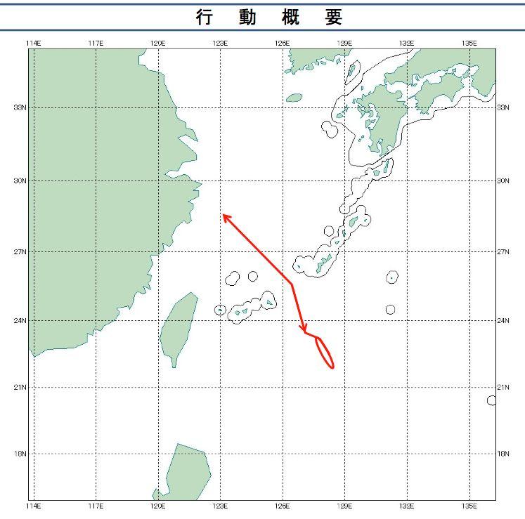 Y-9機14日航跡