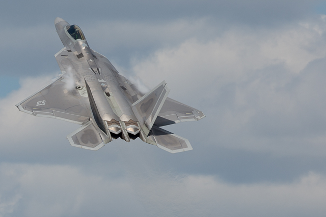 The F22 makes a powerful first appearance at Oshkosh 2015.