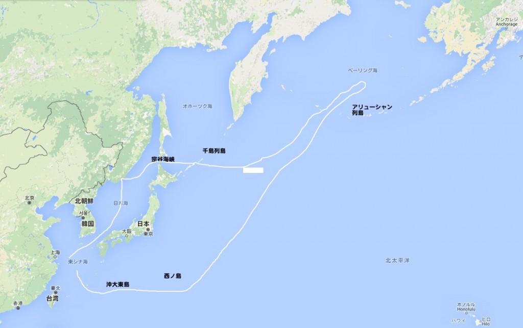 中国艦隊航路