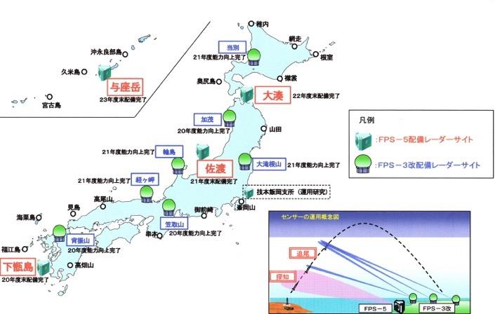 空自レーダー配置図