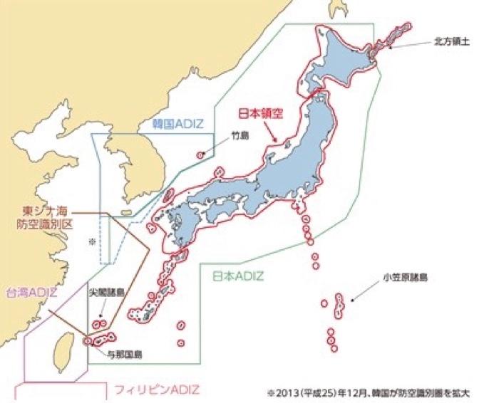日本ADIZ地図